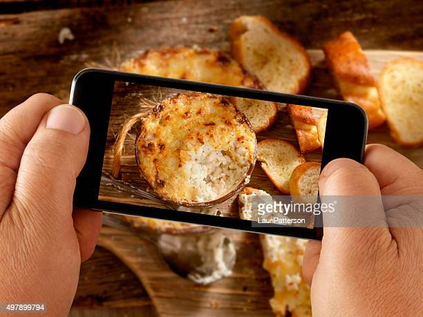 Mobile Photography of Baked Creamy Crab Dip with three Cheeses