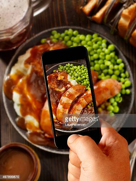 Mobile Photography of Bangers, Mash and a Beer