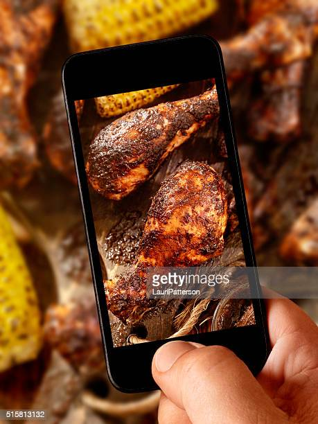 mobile photography of BBQ Grilled Jerk Chicken and Corn