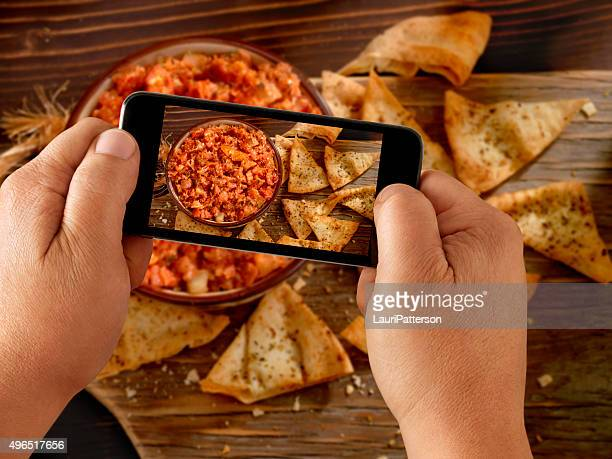 Mobile Photography of Bruschetta with Pita Chips