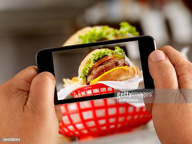 Mobile Photography of Cheeseburger and Fries