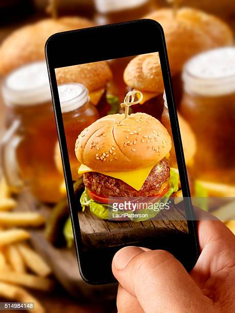 mobile photography of Cheeseburger Sliders with Beer Samplers