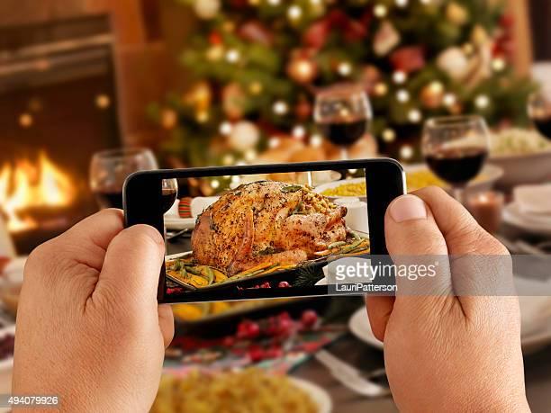 モバイル写真のクリスマスの七面鳥ディナー