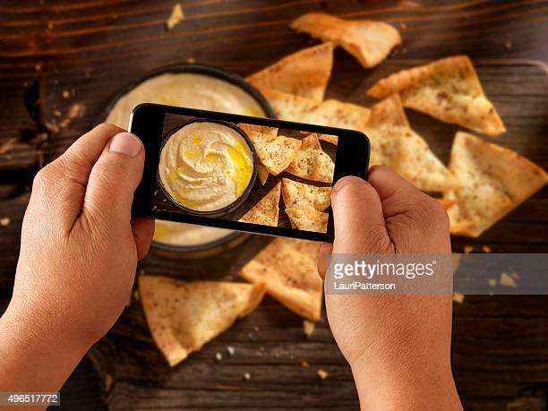 Mobile Fotografie Hummus MIT Pita Chips