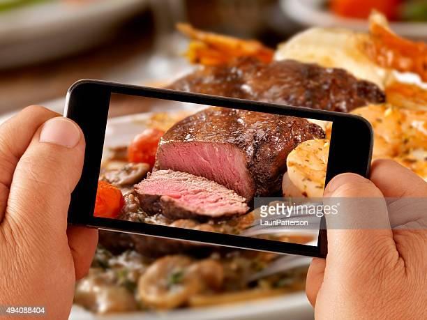 Mobile Photography of Medium Rare Steak Dinner