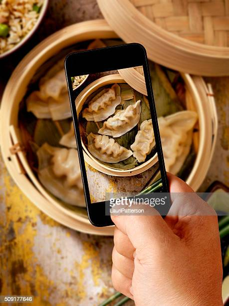 Mobile Photography of Steamed Dumplings
