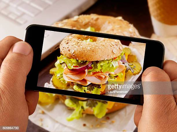 Mobile Photography of Turkey Sandwich
