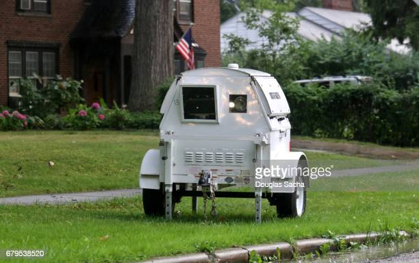 Mobile police speed camera on a public street