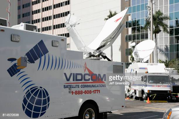 VIDCOM mobile satellite dish communication vans at the Anna Nicole Smith funeral hearing