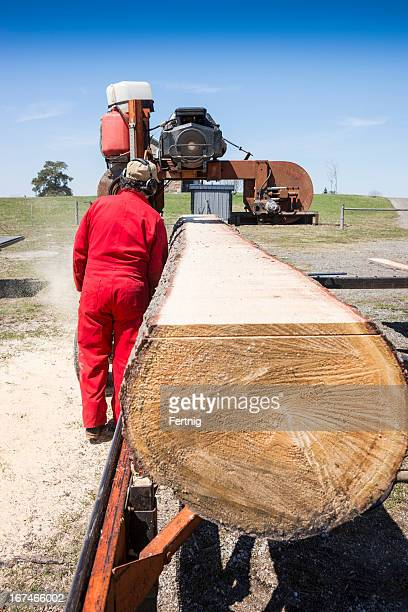 Mobile sawmill in operation