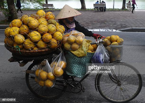 A mobile vendor selling grapefruits transports her stock on a bicycle along a street in downtown Hanoi on January 12 2015 Vietnam's economy grew 598...