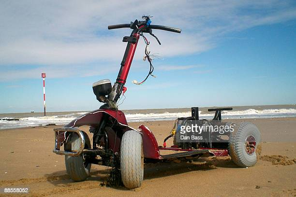 Mobility scooter on sand