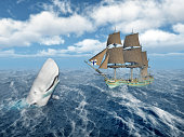 Computer generated 3D illustration with the sperm whale Mocha Dick and a sailing ship in the stormy ocean