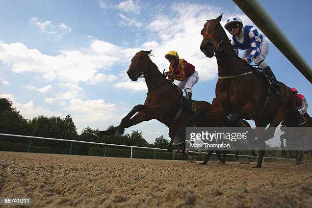 Mocha Java riden by Ross Atkinson romps home to win the Wolverhampton Holiday Inn Apprentice Claiming Stakes race at Dunstall Park on on June 29 2009...