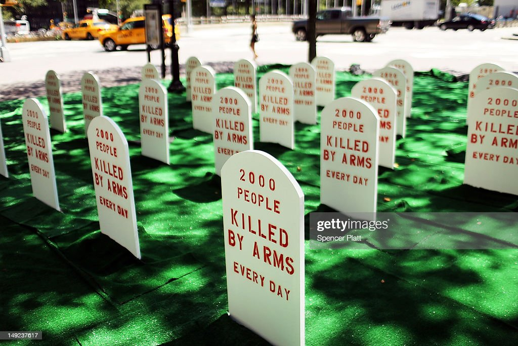 A mock graveyard is viewed across from the United Nations (UN) which represents those killed by arms everyday around the world on July 25, 2012 in New York City. The group Control Arms set up the campaign to help draw attention to the issues of deaths by guns and other armaments while negotiations continue at the UN for a new Arms Trade Treaty.