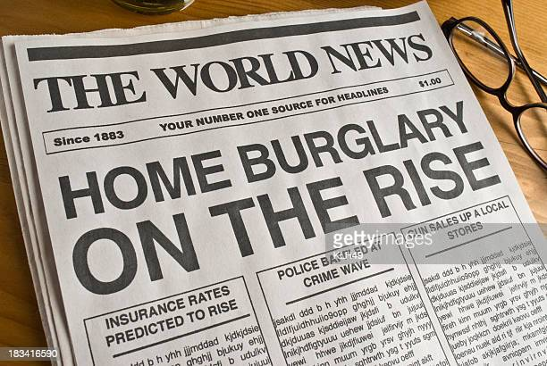 mock newspaper burglary headline