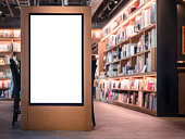 Mock up Banner Blank media Lightbox Bookstore shop interior Background