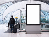 Mock up Banner Media light box with people Public Building Airport
