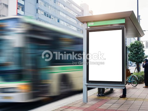 mock up billboard banner template at bus shelter media outdoor
