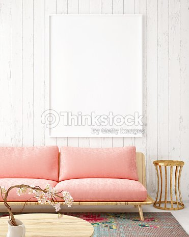 mock up blank poster on the wall vintage living room ストックフォト