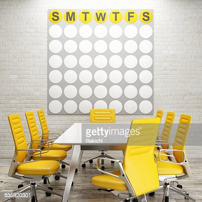 Mock up conference room, calendar on white brick wall : Stock Photo