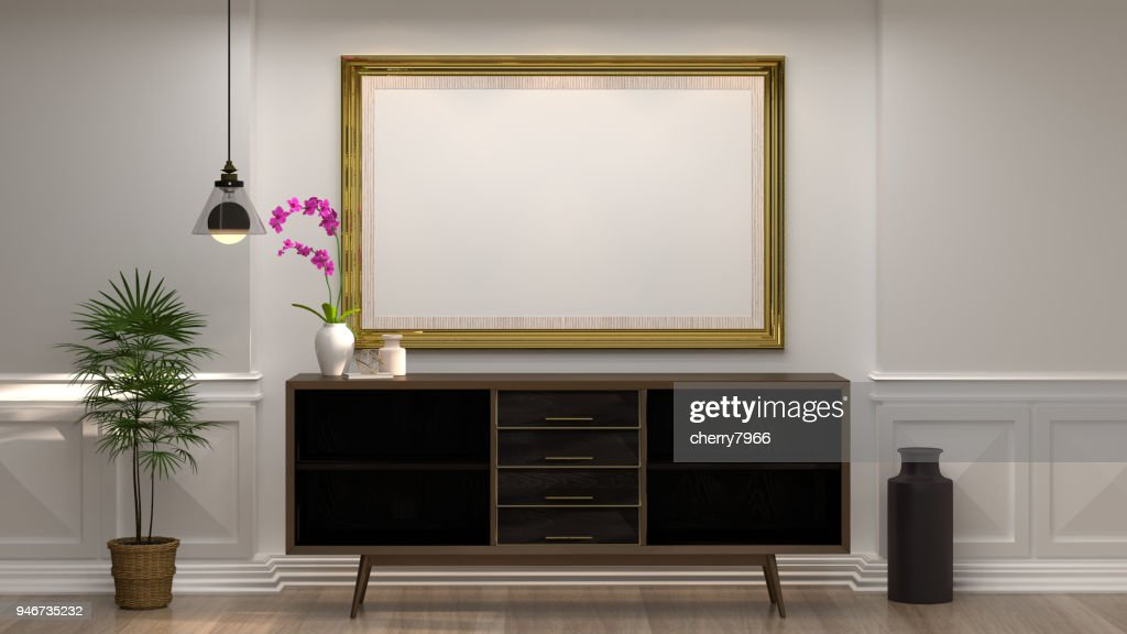 ... Wand Dekorationsartikel Minimal Stil Im Leeren Raum Vintage Stil,  3drendering Luxus Wohnzimmer Moderne Mitte Jahrhundert Raum Innenraum  Wohndesign