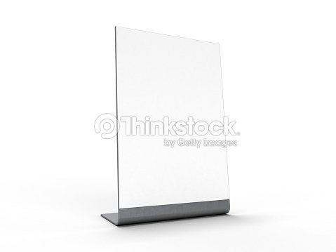 Mock Up Menu Frame On Table 3d Rendering Stock Photo | Thinkstock
