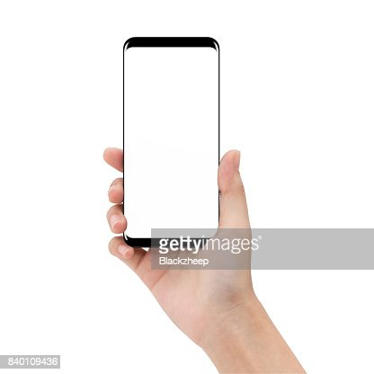 mock up phone in holding hand isolated on white background clipping path inside : Stock Photo