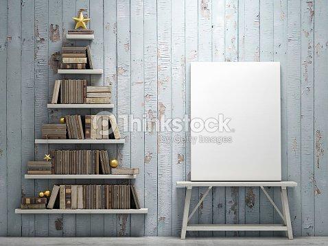 Mock Up Poster And Bookshelf Shaped Christmas Tree Stock Photo