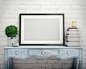 mock up poster frame in vintage hipster loft interior background