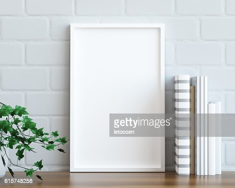 Mock up poster frame on the table : Stock Photo