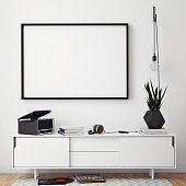mock up poster frame with on retro chest of drawers, hipster interior background, 3D render