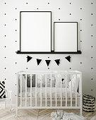 mock up poster frames in children bedroom, Scandinavian style interior background, 3D render, 3D illustration