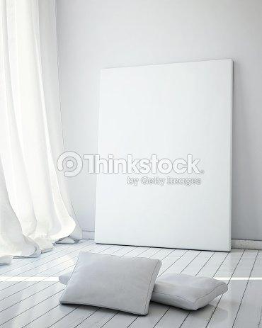 Mock Up Poster Frames In White Scandinavian Interior Background ...