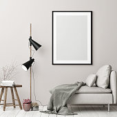 Mock up poster, hipster interior background in Nordic style, 3d render, 3d illustration