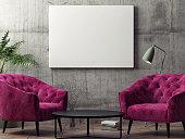 Mock up poster, hipster living room, 3d rendering