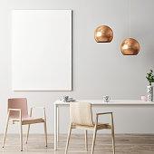 Mock up poster in hipster interior background, Dining room, 3d illustration
