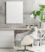 Mock up poster in hipster's office, concept interior design, 3d render, 3d illustration