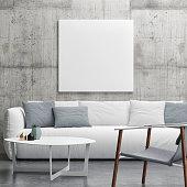 Mock up poster in Living room, minimalism interior design, 3d illustration