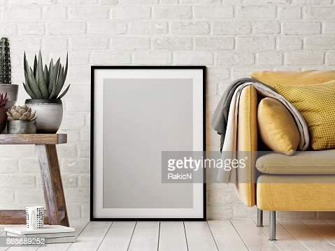 Mock up poster, interior composition, sofa, wood chair, flower and white poster : Foto de stock