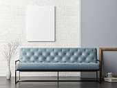Mock up poster on white brick wall, blue sofa living room, 3d illutration