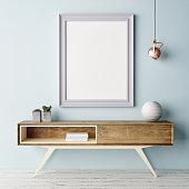Mock up poster, pastel color interior, 3d illustration