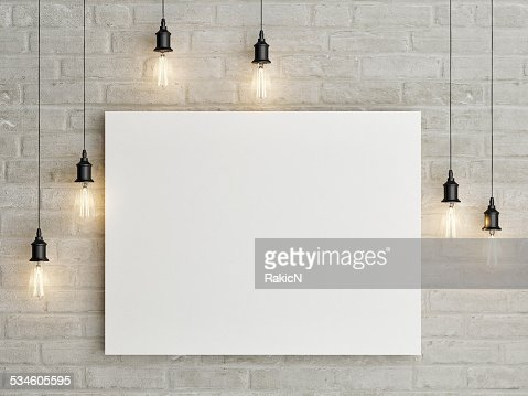 Mock up poster with ceiling lamps, 3d illustraton : Stock Photo