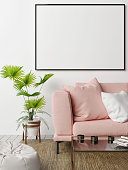 Mock up poster with  rose sofa, hipster's living room, 3d render, 3d illustration