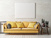 Mock up poster with yellow sofa, cactus and wooden frame, 3d illustration