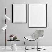 Mock up posters, hipster office, 3d illustration, 3d render