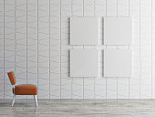 mock up posters on pattern wall, 3d illustration