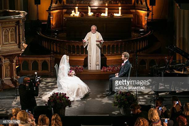 A mock wedding between a 12 years old child bride and her 37 years old fiance is staged in Oslo on October 11 2014 The wedding is part of a campaign...