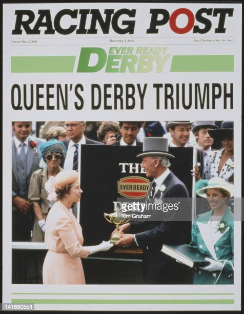 A mockedup cover of the 'Racing Post' announcing Queen Elizabeth II's imaginary triumph in the Derby