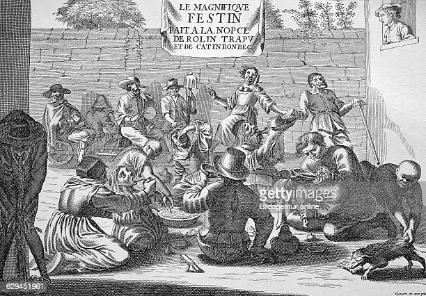 Mockery of a beggar's wedding french engraving 1850